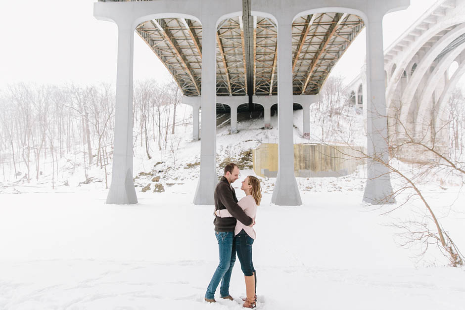 A snowy winter engagement session at Lakewood Park and the Rocky River Reservation Metroparks with Sarah & Alin.
