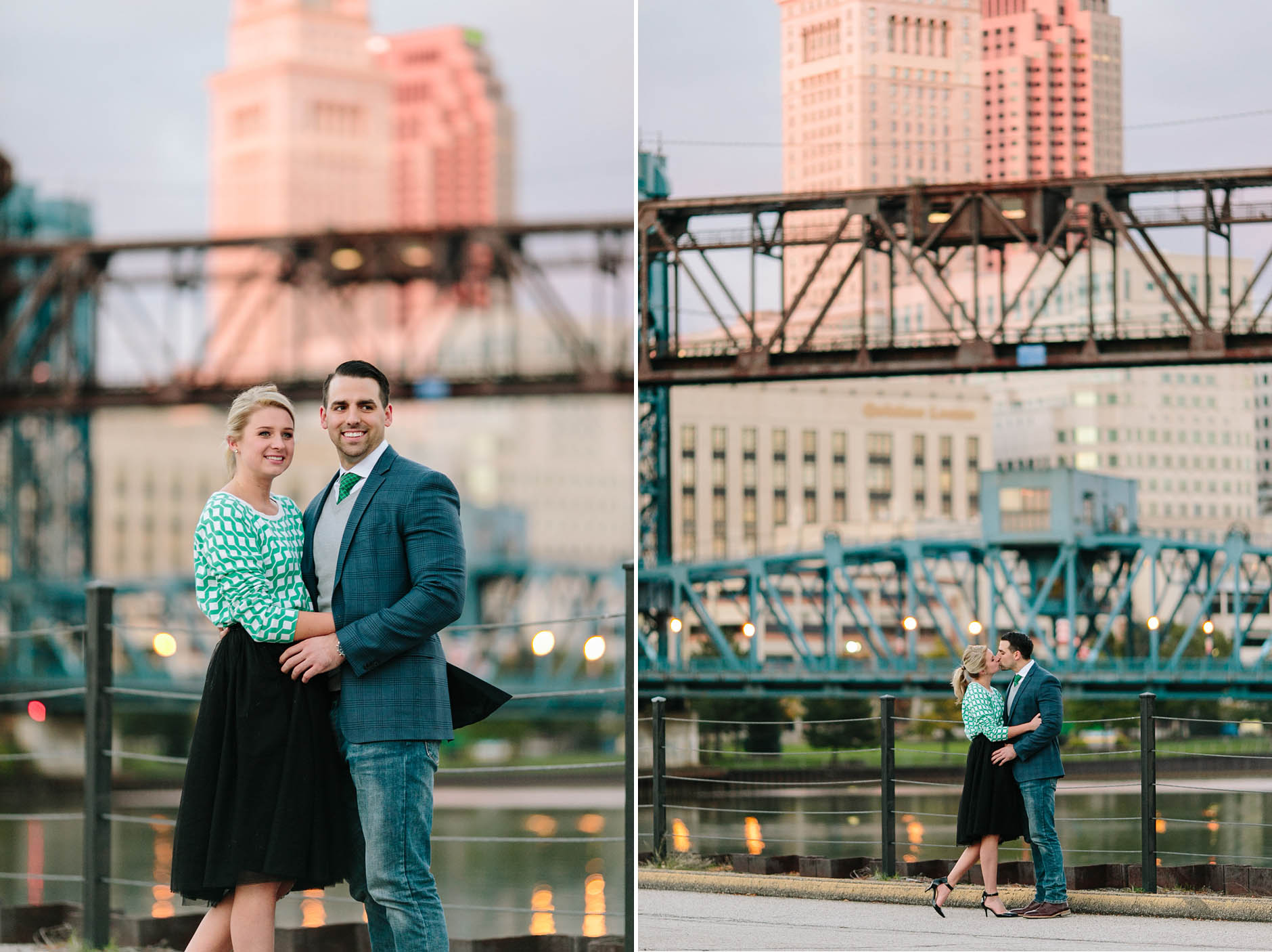Fall engagement session with dog in Cleveland