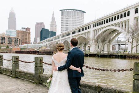 Bride & Groom portraits downtown Cleveland in the Flats